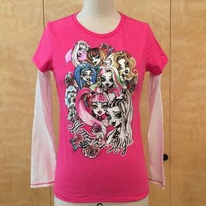 Girls monster high long sleeve t shirt hot pink xl